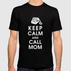 Keep Calm and Call Mom Mens Fitted Tee Black SMALL