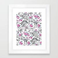 Dinosaurs and Roses - white Framed Art Print