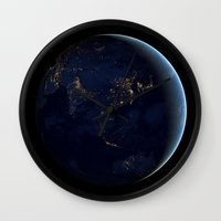 Asia at Night Wall Clock