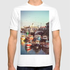 Boats resting in the Harbour SMALL White Mens Fitted Tee