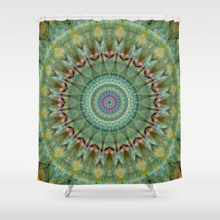 Mandala Green Malachite Shower Curtain By Christine