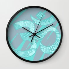 Om symbol - grey & teal Wall Clock