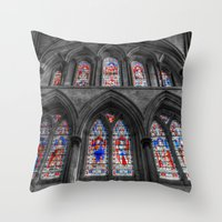 Rochester Cathedral Stained Glass Windows Throw Pillow