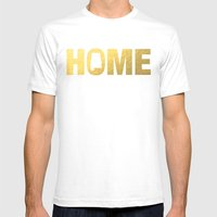 Alabama Home State Faux … Mens Fitted Tee White SMALL