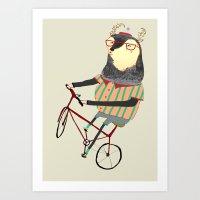 bike Art Prints featuring Deer on Bike.  by Ashley Percival illustrator