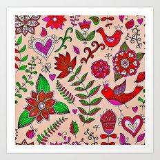 Love Nature Pattern Art Print