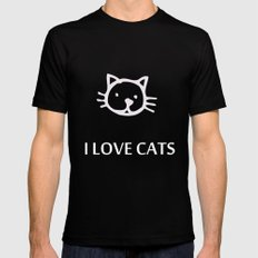 I LOVE CATS Mens Fitted Tee Black SMALL