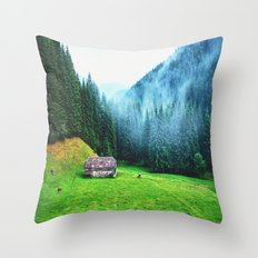 Mountain and Forest Throw Pillow