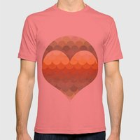 Half Circles Waves Color Mens Fitted Tee Pomegranate SMALL