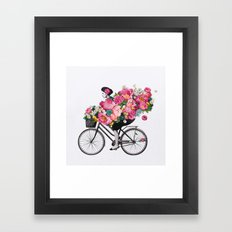 floral bicycle  Framed Art Print