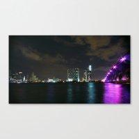 Miami night skyline Canvas Print
