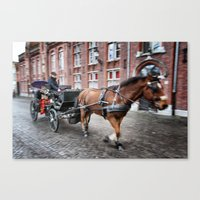 Horse Carriage in Brugge Canvas Print