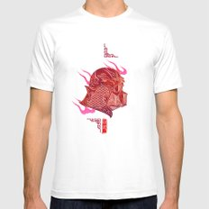 Red Darth White Mens Fitted Tee SMALL