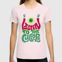 Listen To The Cyclops Womens Fitted Tee Light Pink SMALL