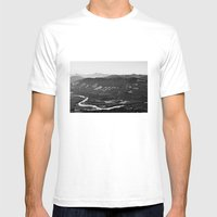 River in the Mountains B&W Mens Fitted Tee White SMALL