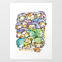 Hedgehog family Art Print