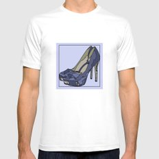 Blue sweet shoe -or....? SMALL Mens Fitted Tee White