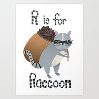 R Is For Raccoon Art Print