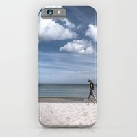iPhone Cases featuring Lonely man at the beach by UtArt