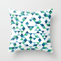 Triangles Blue And Green Throw Pillow