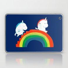 Unicorn on rainbow slide Laptop & iPad Skin