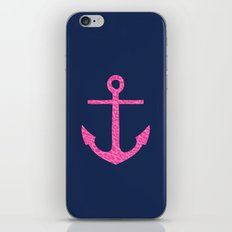 pink leopard anchor on navy  iPhone & iPod Skin