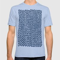 Hand Knit Navy Mens Fitted Tee Tri-Blue SMALL