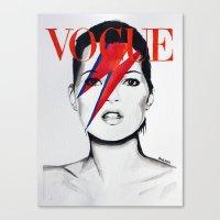 Vogue Magazine Cover. Kate Moss as David Bowie. Fashion Illustration.  Canvas Print
