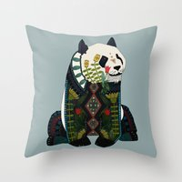 Panda Silver Throw Pillow