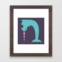 Letter N // Animal Alphabet // Narwhal Framed Art Print