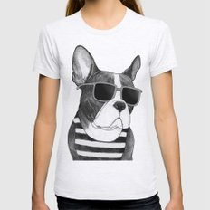 Frenchie Summer Style b&w Womens Fitted Tee Ash Grey SMALL