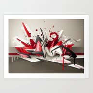 Art Print featuring Red Metal by DAIM