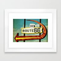 Route 66 Motel Graphic Sign Framed Art Print