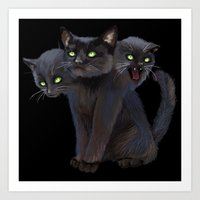 3 HEADED KITTY Art Print