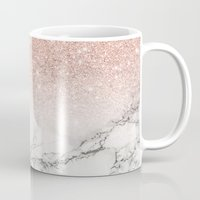 Modern faux rose pink glitter ombre white marble Mug