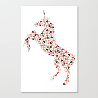 Multi Heart Unicorn Canvas Print