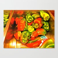 Canvas Print featuring Peppers by KeCuddihee