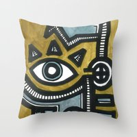 Blue And Gold Face Throw Pillow