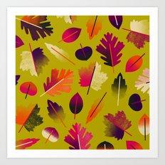 Fall Leaves Pattern Art Print