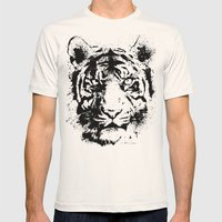 White Tiger Mens Fitted Tee Natural SMALL