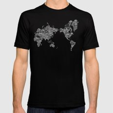 Passport Stamp Map Special Edition, Black and White Black Mens Fitted Tee SMALL