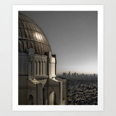Los Angeles - Griffith Park Observatory with Los Angeles Skyline Art Print