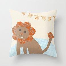 lion collage Throw Pillow