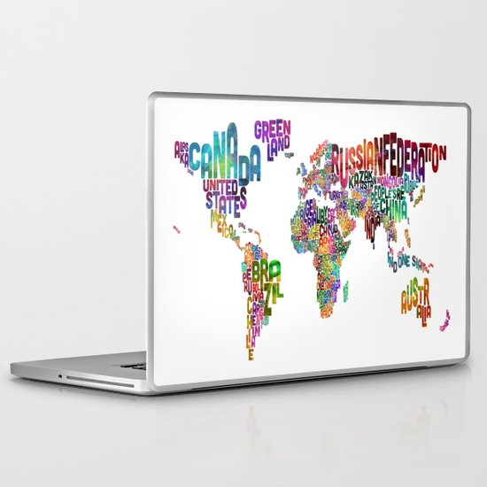 Text Map of the World Laptop & iPad Skin