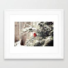 View the snowfall, Cardinal Framed Art Print