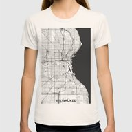 Milwaukee Map Gray Womens Fitted Tee Natural SMALL