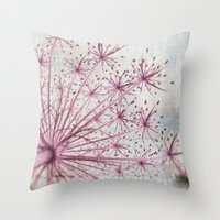 Vintage Raspberry Pink and Paris Gray Botanical Queen Anne's Lace Wildflower Throw Pillow
