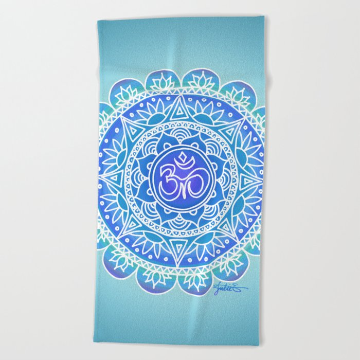 blue ohm symbol mandala pattern yoga yogi beach towel blanket