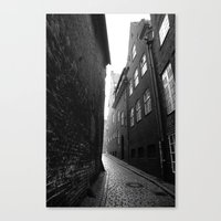 The Alley Photo In Black… Canvas Print
