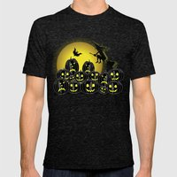 Pumpkins And Witch In Fr… Mens Fitted Tee Tri-Black SMALL